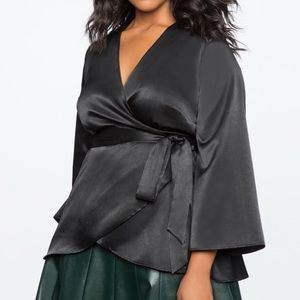 Eloquii Black Satin Wrap Top Plus Size